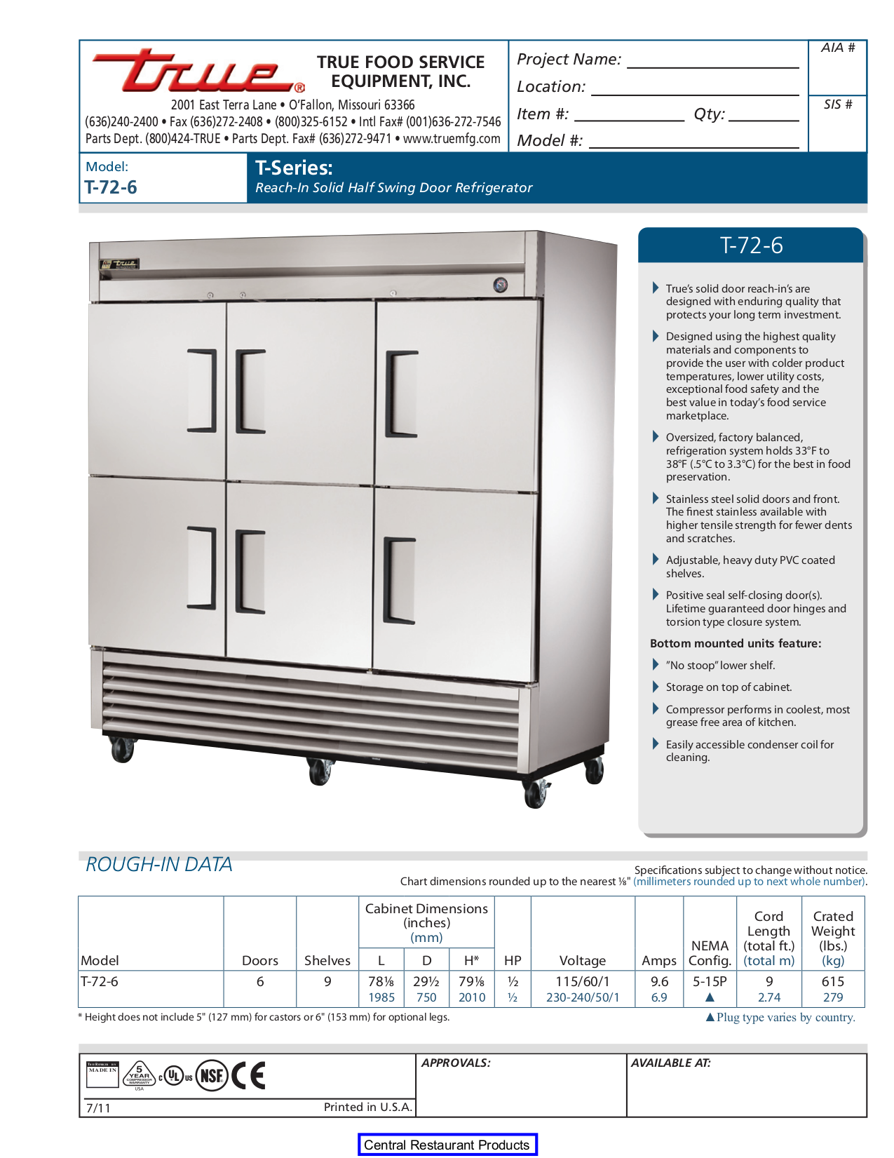 True T 72 Refrigerator Manual - User Guide Manual That Easy-to-read •