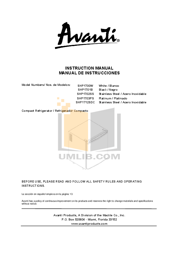 pdf for Avanti Refrigerator SHP1702SS manual