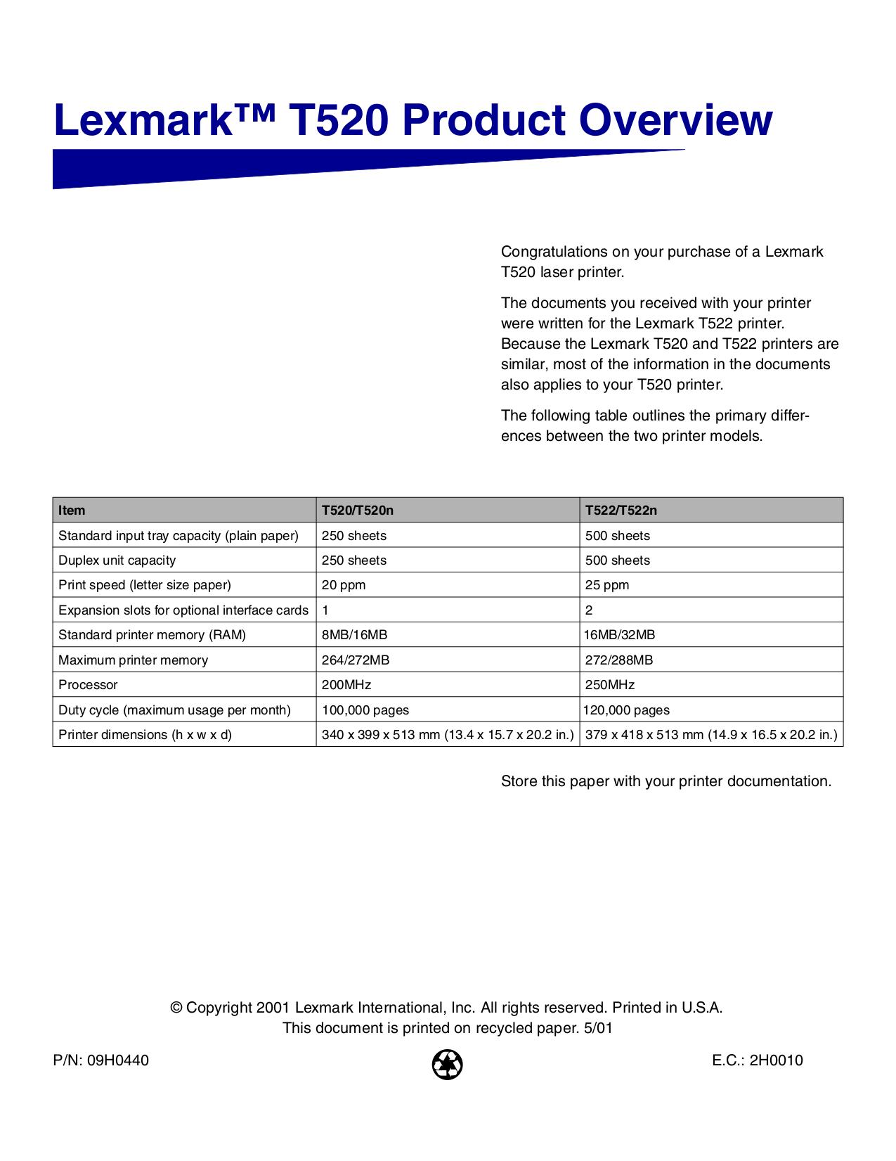pdf for Lexmark Printer T522n manual