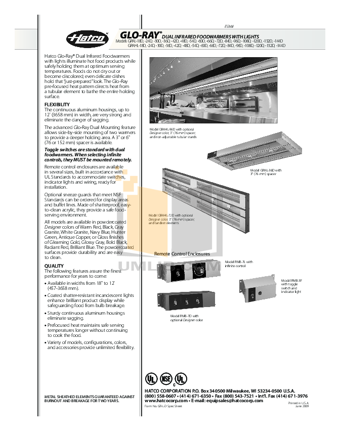 pdf for Hatco Other GRAH-36D manual