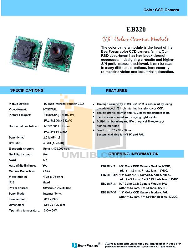 pdf for EverFocus Security Camera EB220 manual