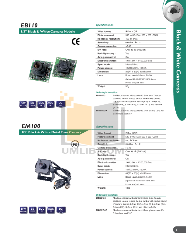 EverFocus Security Camera EB220 pdf page preview