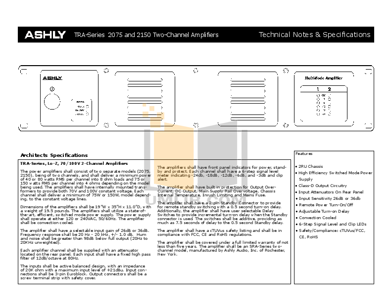 Ashly Amp TRA-2150 pdf page preview