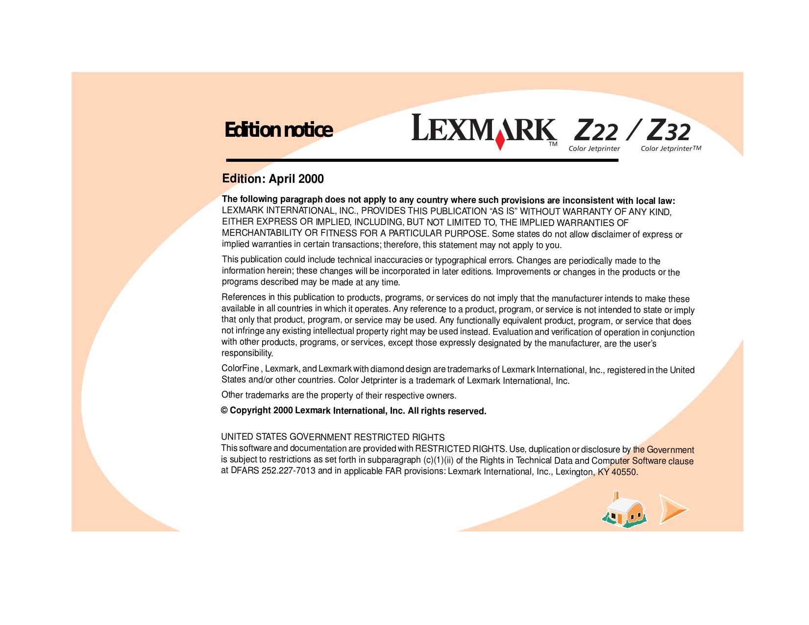 pdf for Lexmark Printer Z22 manual