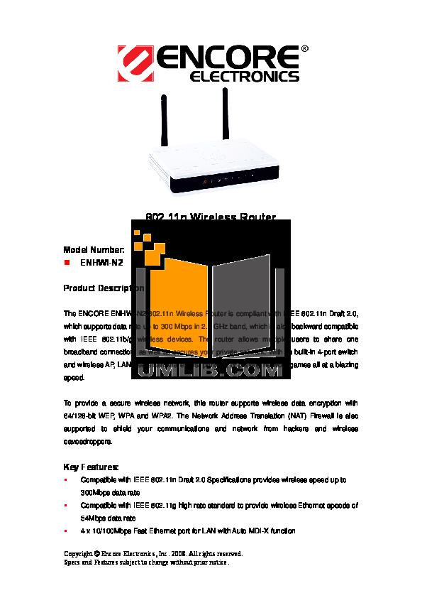 pdf for Encore Wireless Router ENHWI-N2 manual