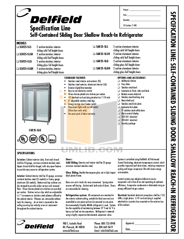 pdf for Delfield Refrigerator SAR2S-SLSH manual