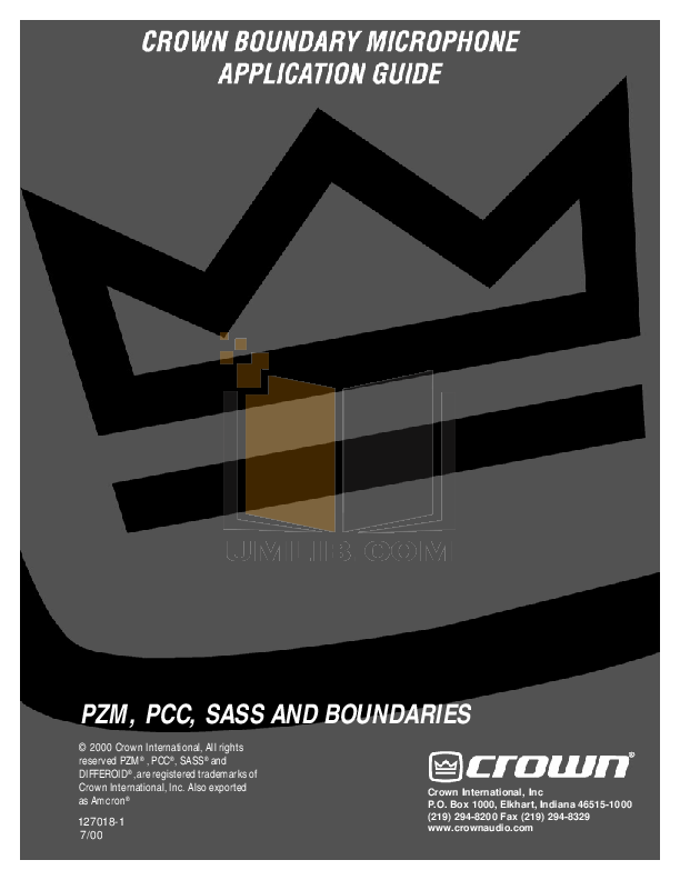 pdf for Crown Other PZM-20R Microphones manual
