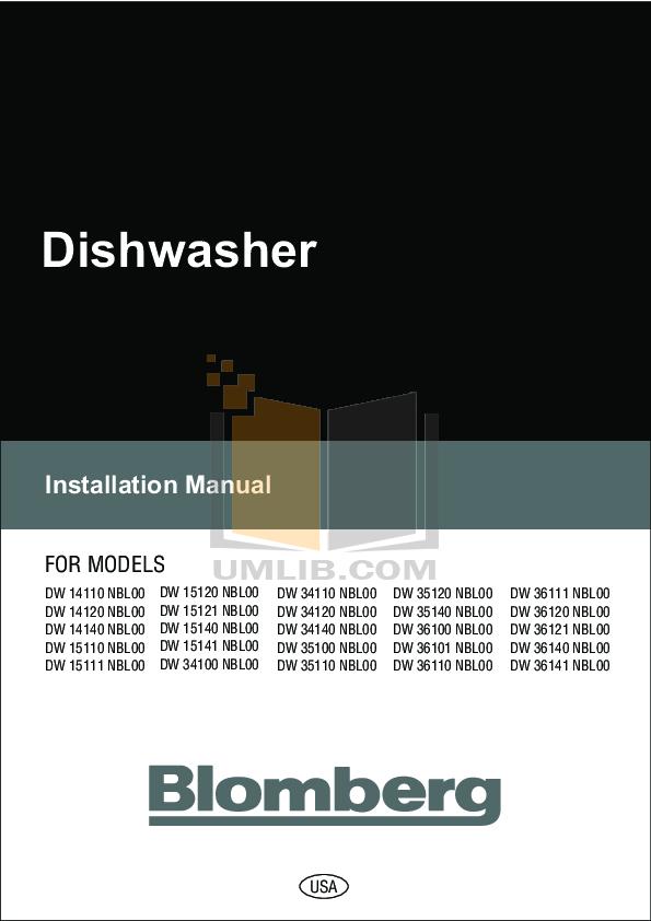 pdf for Blomberg Dishwasher DW35140 manual