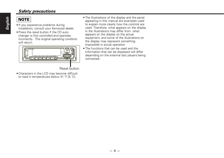 PDF manual for Kenwood Car Receiver KDC-C100