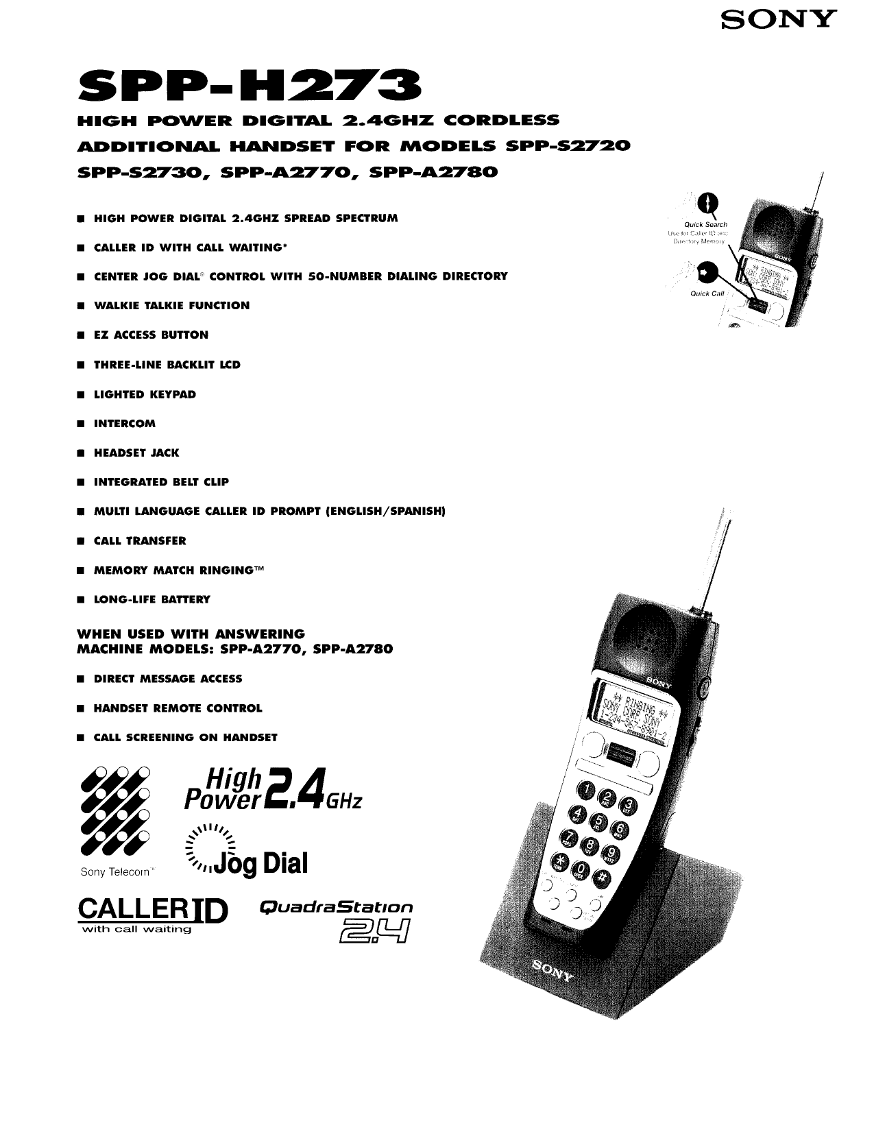 download free pdf for sony spp h273 telephone manual rh umlib com Sony Telephone Number sony phone manuals online