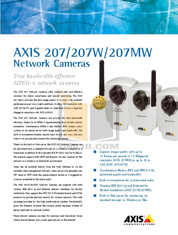 pdf for Axis Security Camera 207MW manual