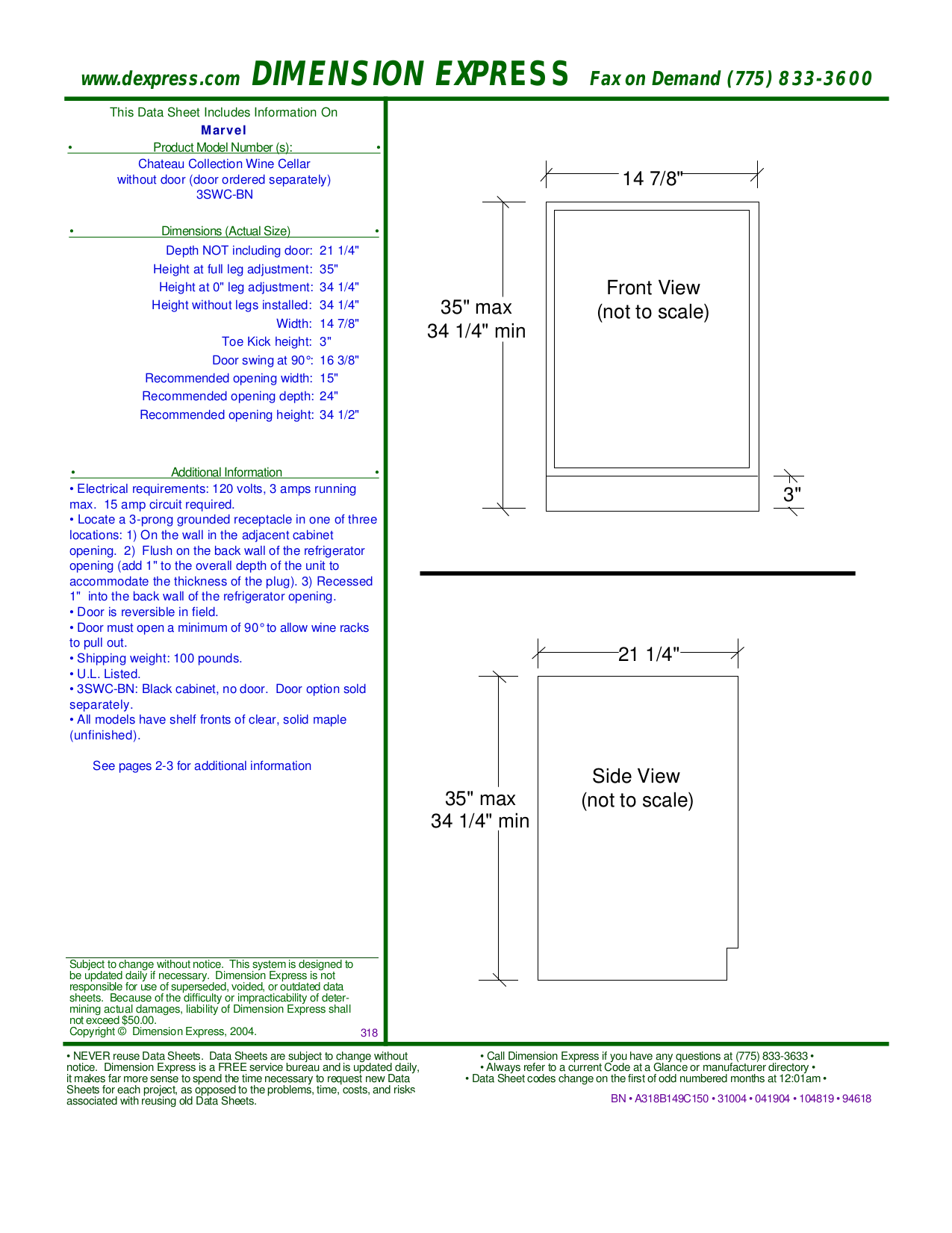 pdf for Marvel Refrigerator 3SWC-BN manual