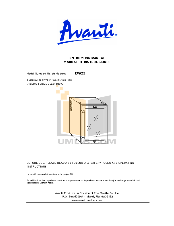 pdf for Avanti Refrigerator EWC28 manual