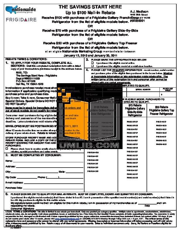 pdf for Frigidaire Refrigerator Gallery FGHS2342LF manual
