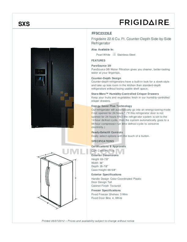 Frigidaire Refrigerator Gallery FGHS2342LF pdf page preview