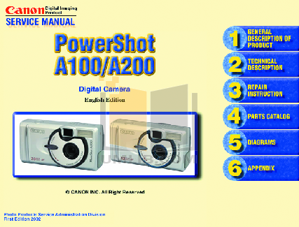 pdf for Canon Digital Camera Powershot A200 manual