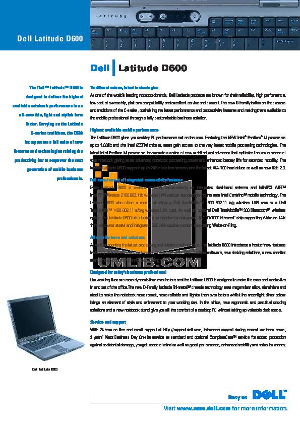 download free pdf for dell latitude d600 laptop manual rh umlib com dell support manuals inspiron 15 5000 dell support manuals