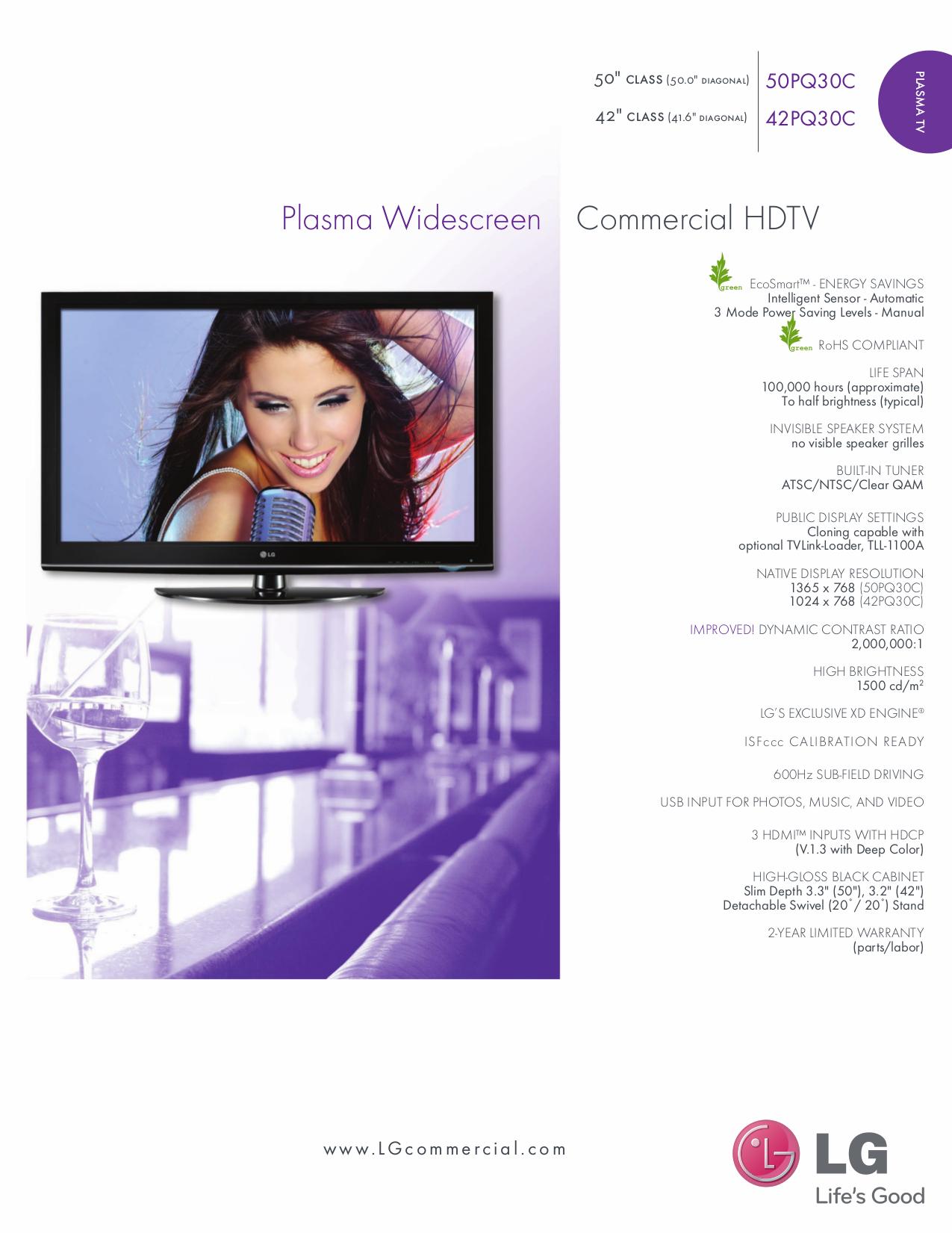 pdf for LG TV 50PQ30C manual