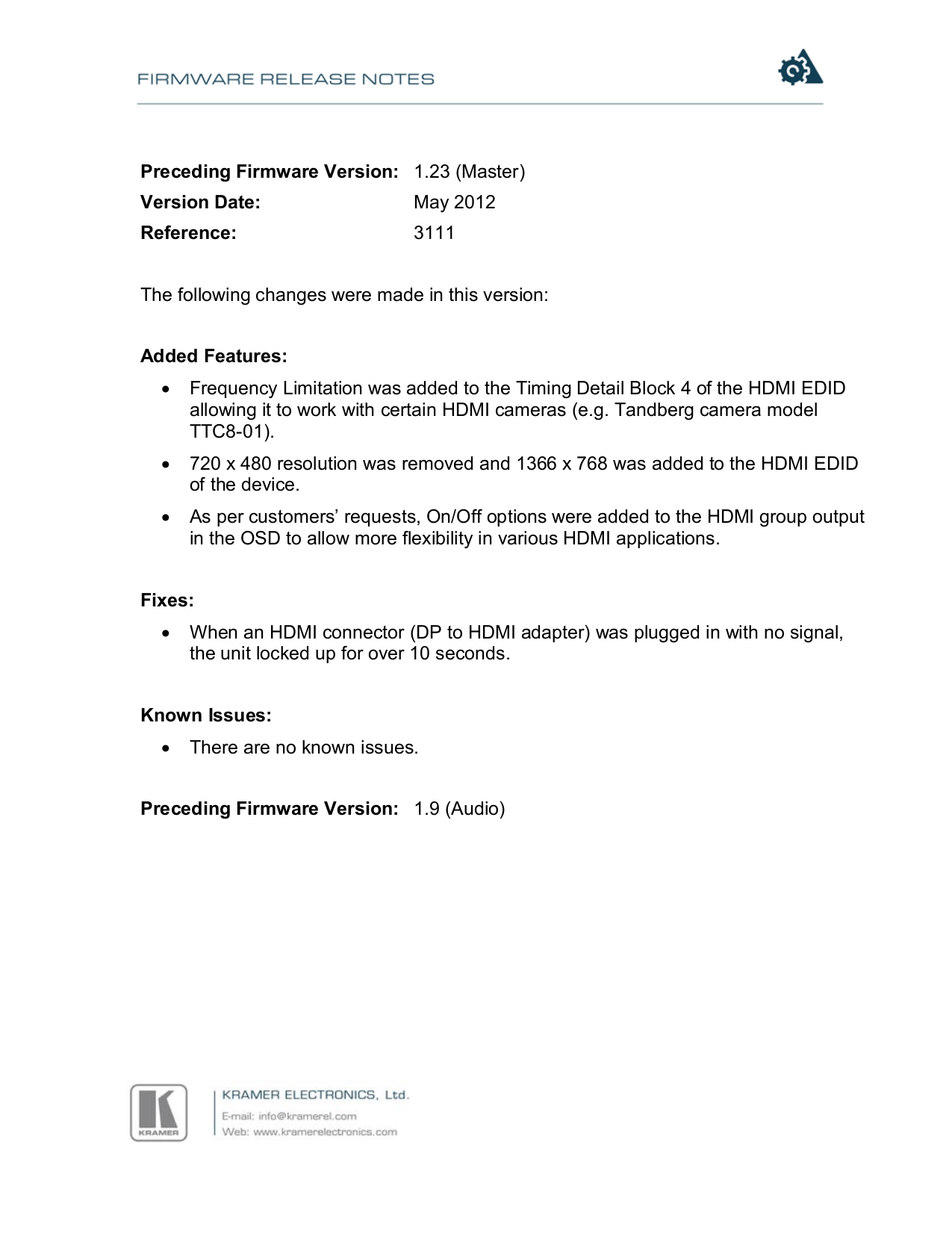Kramer Other VP-729 Digital Scalers pdf page preview