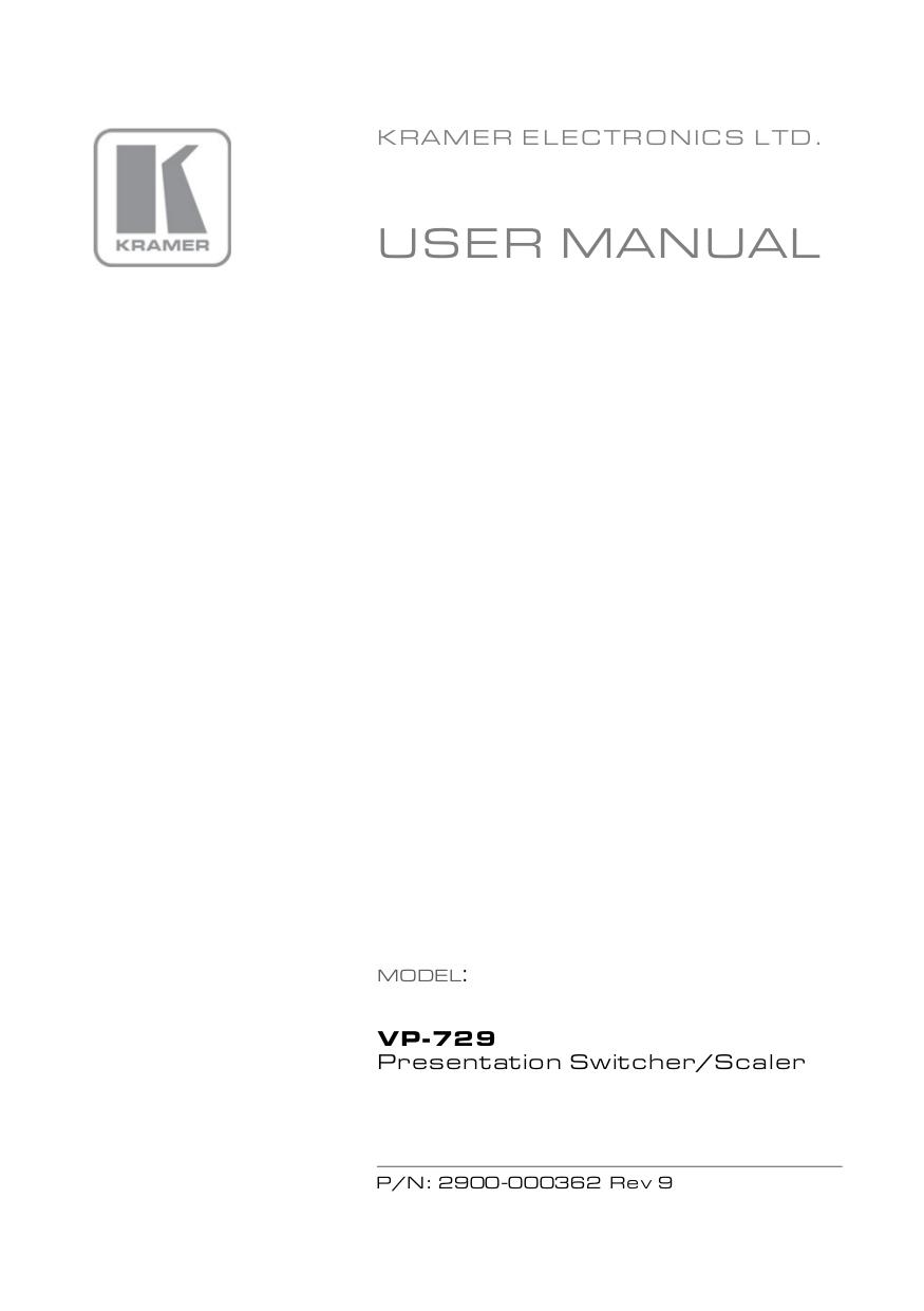 pdf for Kramer Other VP-729 Digital Scalers manual