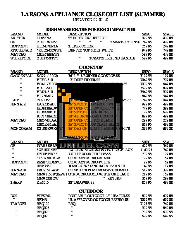 Hotpoint Range RGB790WEKWW pdf page preview