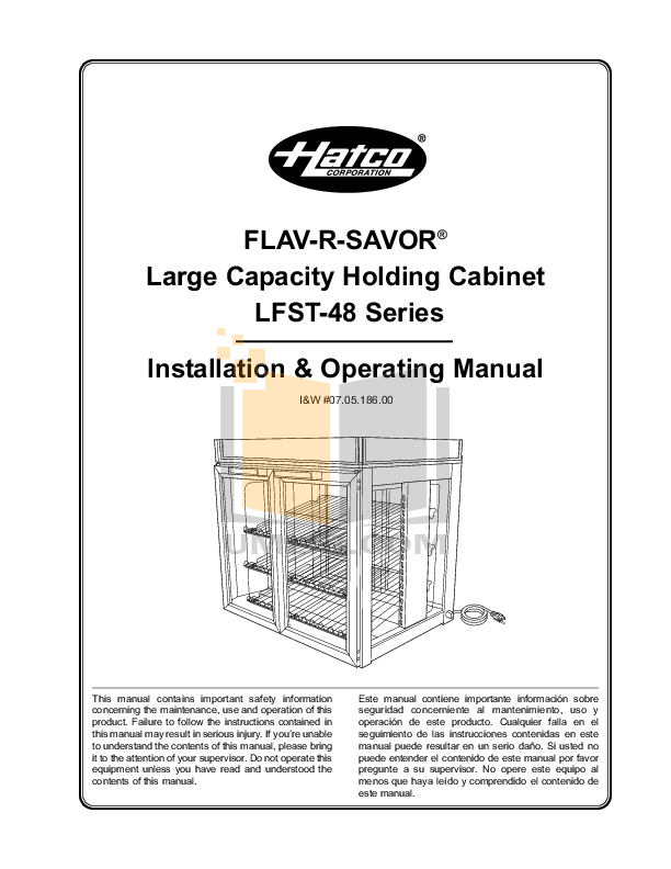 pdf for Hatco Other LFST-48 manual