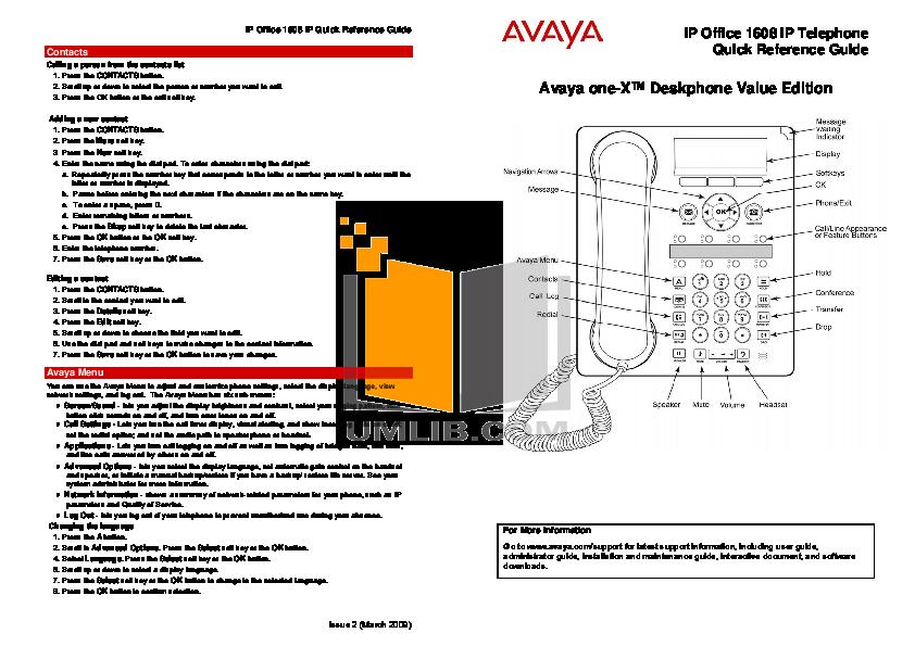 Avaya one-x deskphone value edition 1608 manuals.