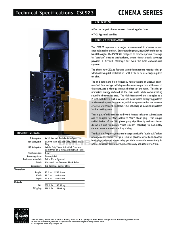 Eaw Speaker System Cinema CSC923 pdf page preview