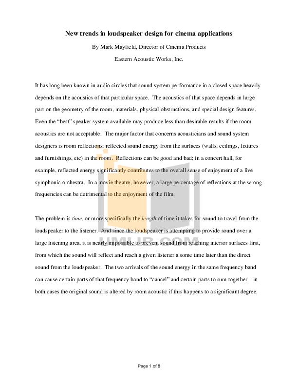 pdf for Eaw Speaker System Cinema CSC923 manual