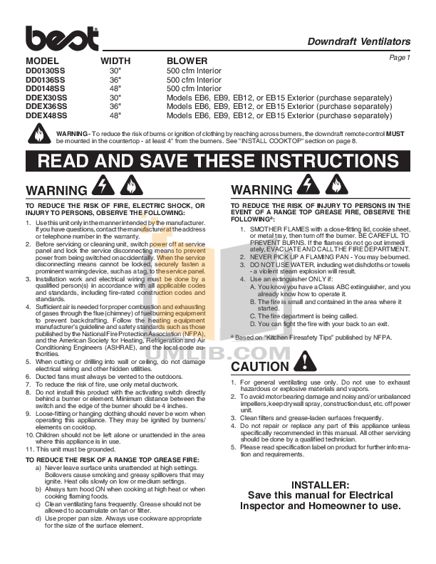 pdf for Broan-NuTone Other DD01 Series DD0130SS Hoods manual