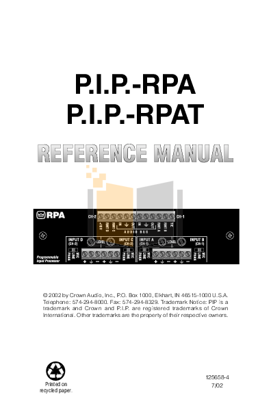 pdf for Crown Other PIP-RPAT Input Processors manual