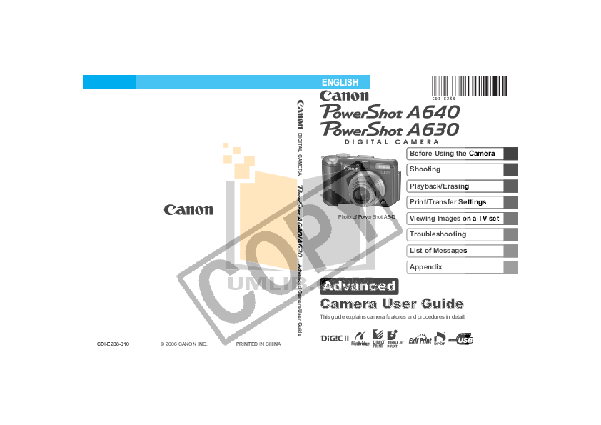 pdf for Canon Digital Camera Powershot A640 manual