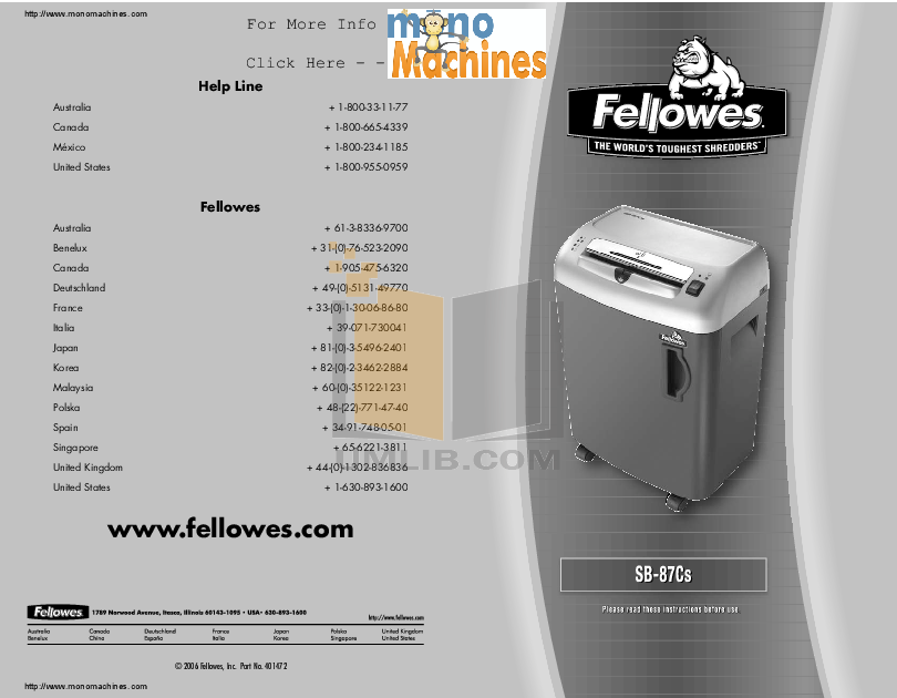 Download free pdf for fellowes ps-62c shredders other manual.