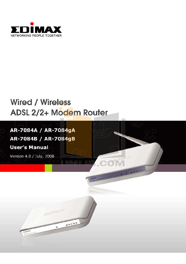 pdf for Edimax Wireless Router AR-7084gA manual