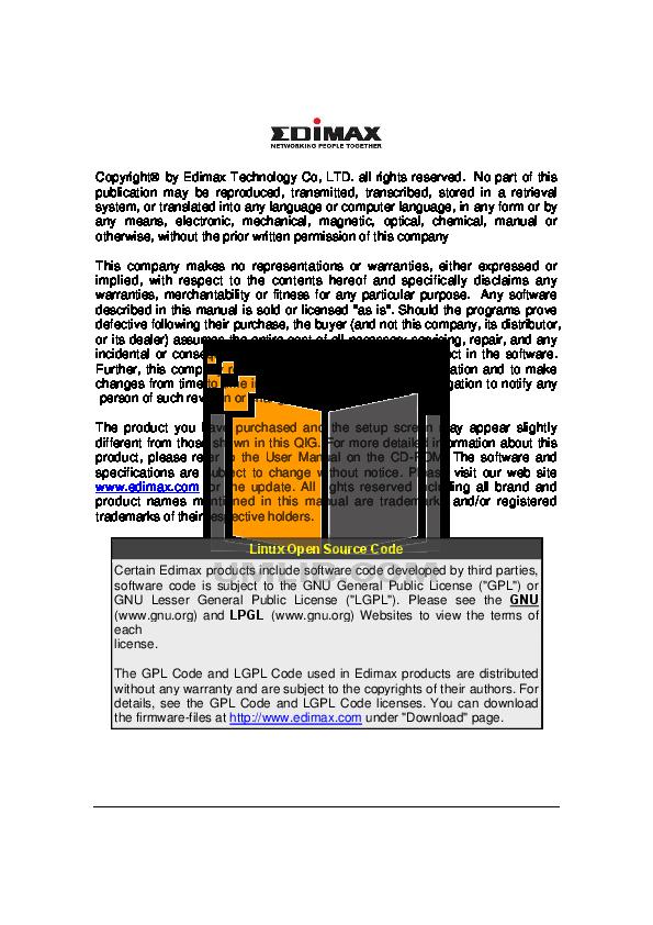Edimax Wireless Router AR-7084gA pdf page preview