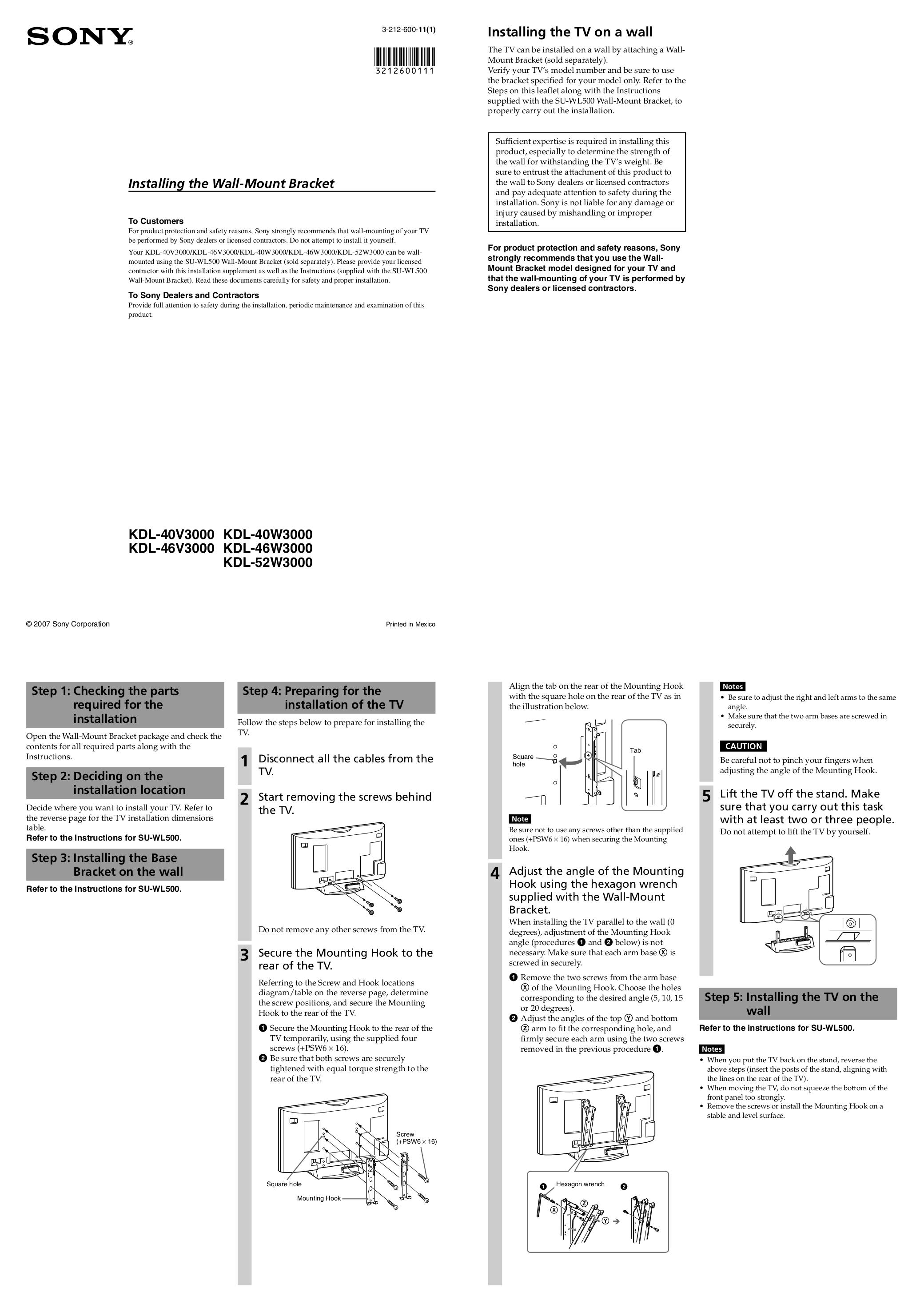 Download Free Pdf For Sony Bravia Kdl 40w3000 Tv Manual