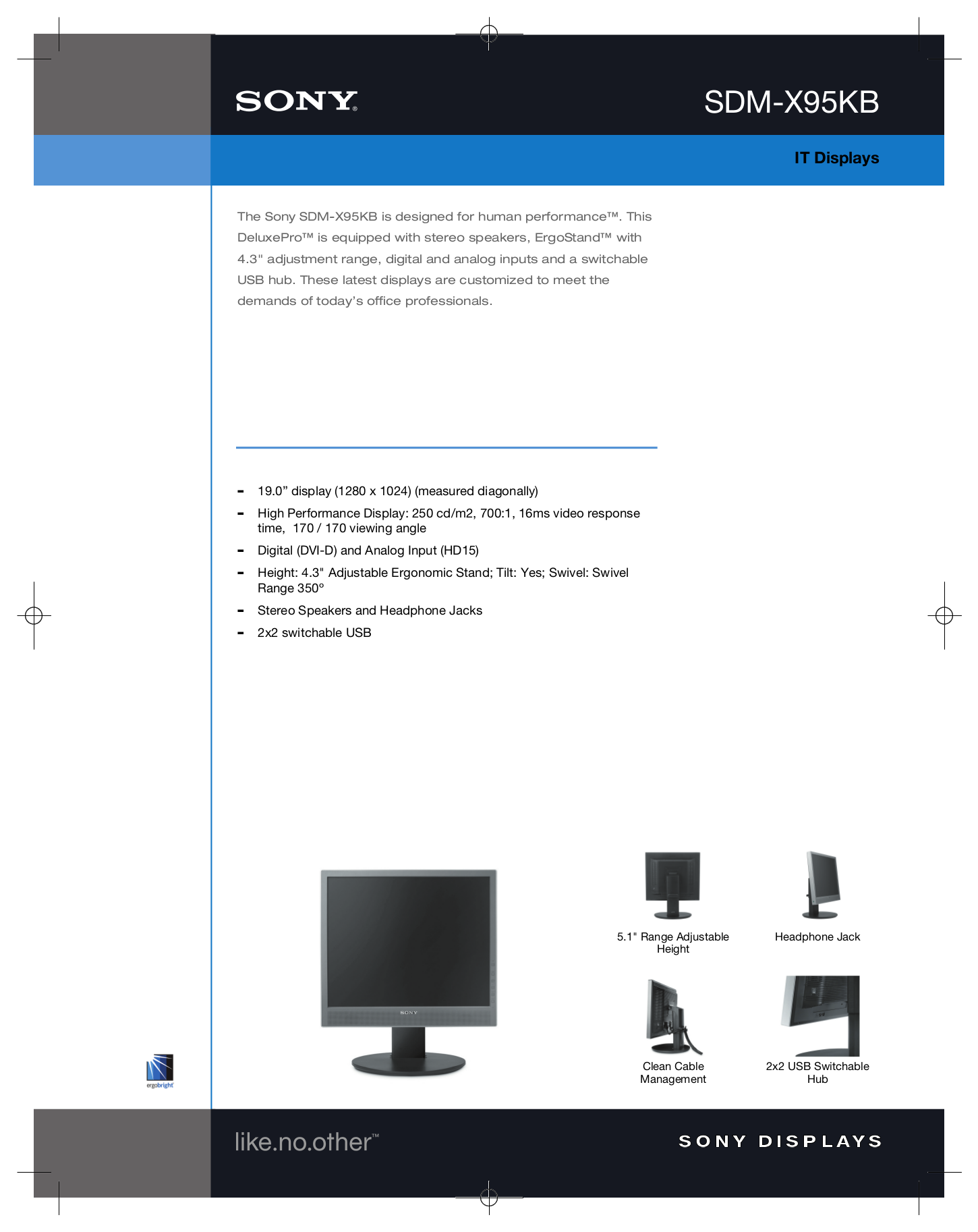 pdf for Sony Monitor SDM-X95KB manual