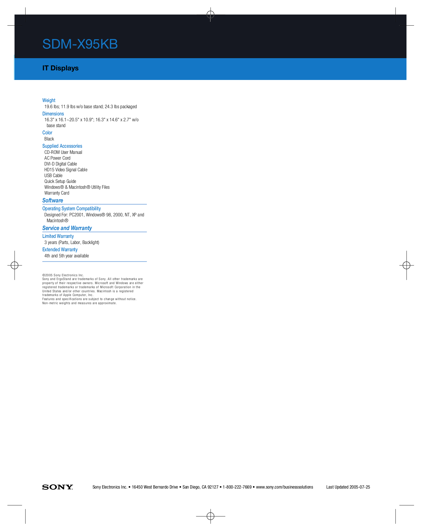 Sony Monitor SDM-X95KB pdf page preview
