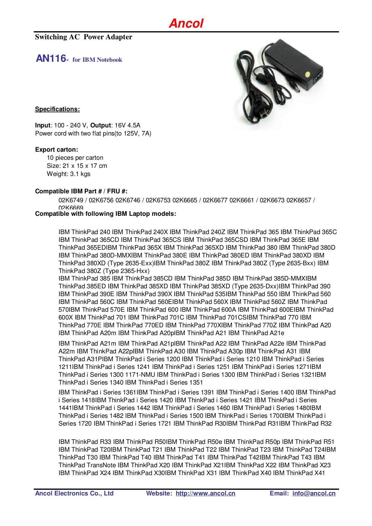 pdf for IBM Laptop ThinkPad A20m manual