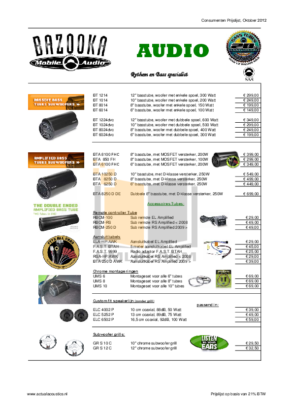 pdf for Bazooka Speaker MBTA8100 manual