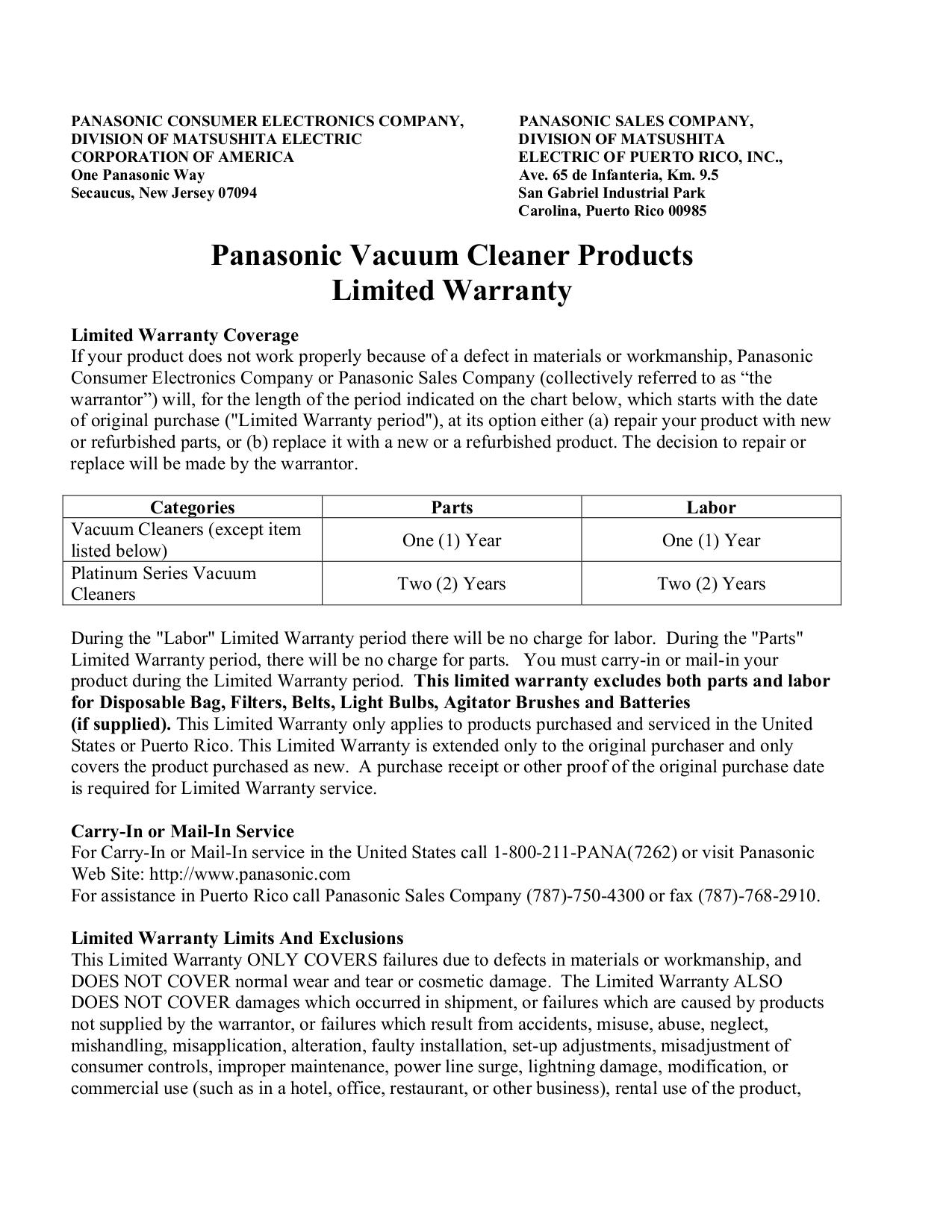 pdf for Panasonic Vacuum MC-V5710 manual