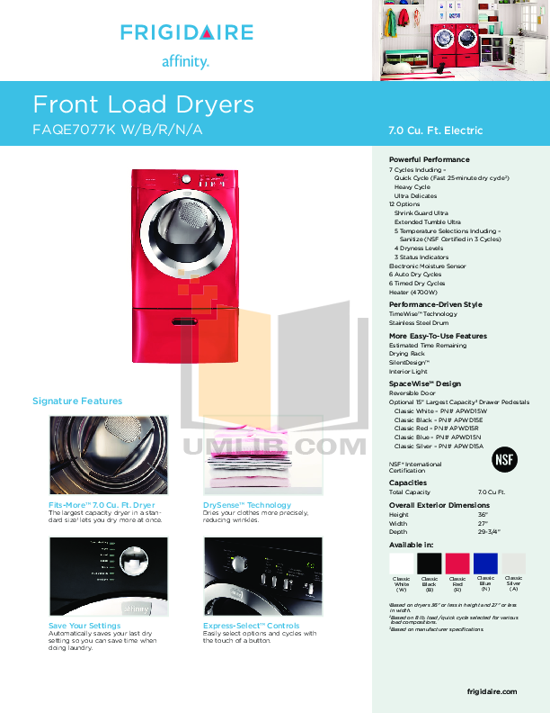 pdf for Frigidaire Dryer FAQE7077K manual