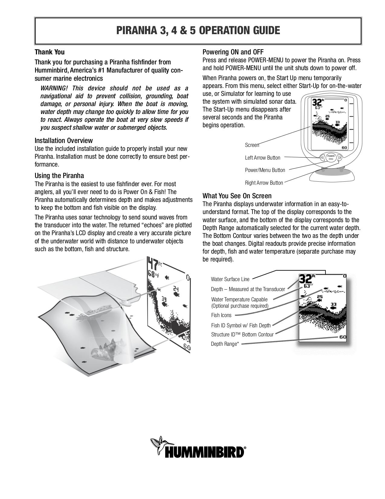 humminbird piranha 5x инструкция