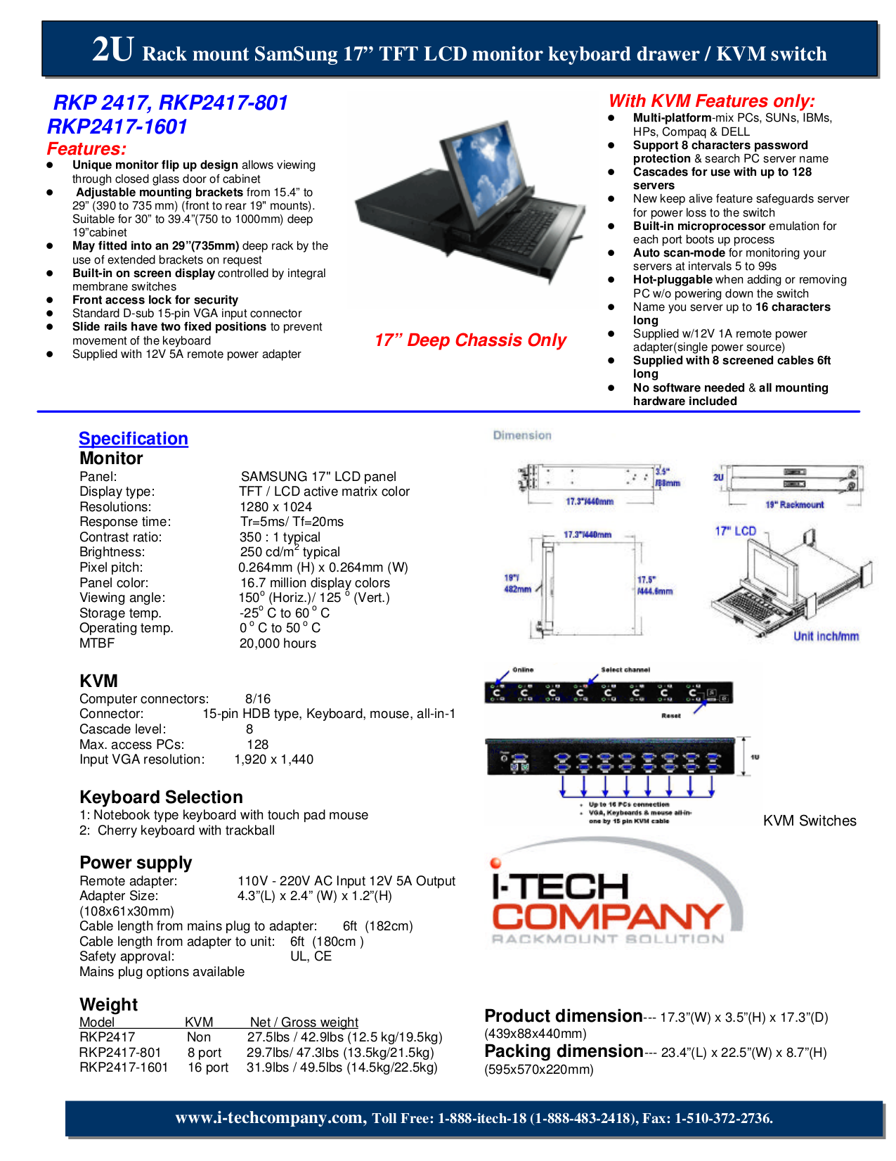 pdf for I-Tech Other RKP2417-1601 Keyboard Drawers manual