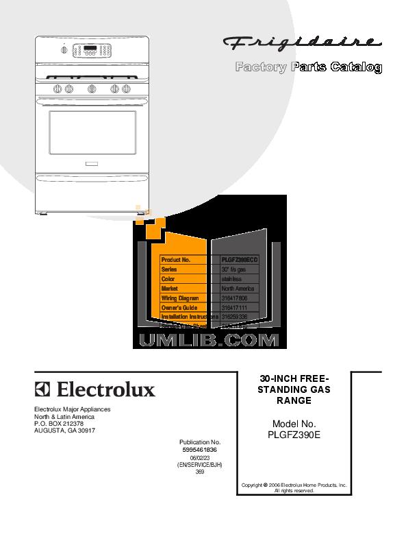 pdf for Frigidaire Range PLGFZ390ECD manual