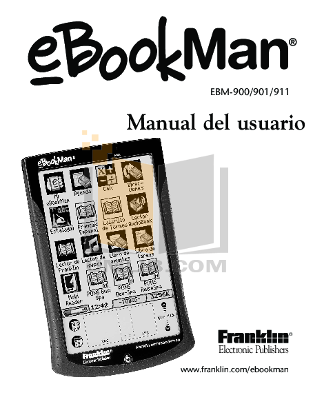 pdf for Franklin PDA eBookMan EBM-900 manual