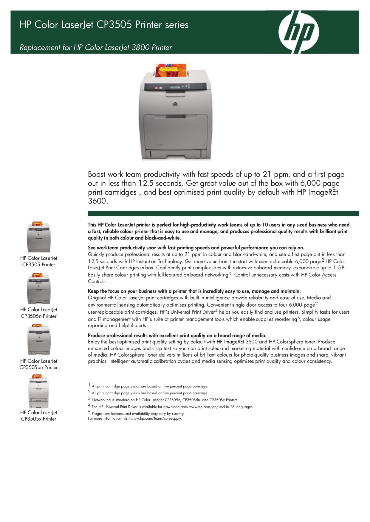 pdf for HP Printer Laserjet,Color Laserjet CP3505x manual