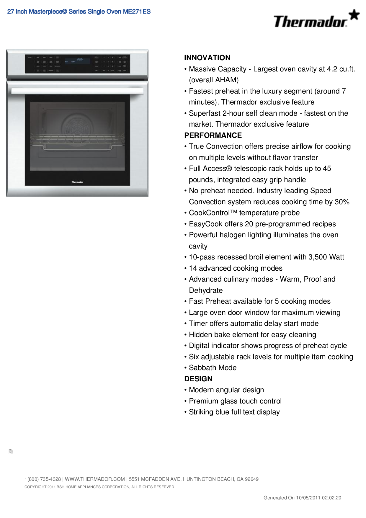 pdf for Thermador Oven ME271ES manual