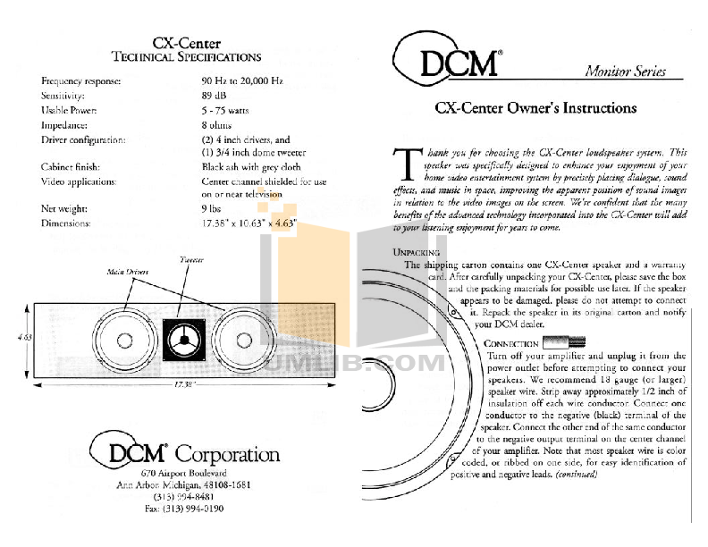 pdf for Dcm Speaker System CX-Center manual