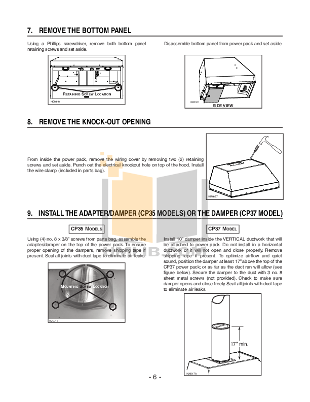 Broan-NuTone Other CP35 Hoods pdf page preview